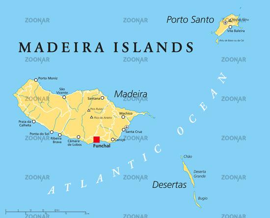 Madeira Inseln Landkarte
