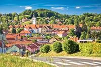 Town of Varazdinske Toplice in green hillside landscape view,