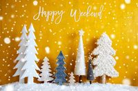 Christmas Trees, Snowflakes, Yellow Background, Happy Weekend