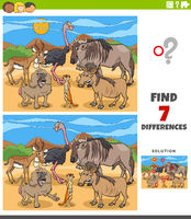 differences educational task for kids with animals