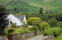 Beautiful white cottage house on the green farmlands at the Lake District area in United Kingdom