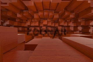 3d rendering of backgrounds abstract. Red wooden box.