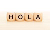 Hello word in spanish language in wooden blocks