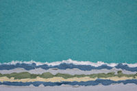 sky and sea abstract landscape created with handmade Indian paper