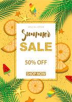 Sommerschlussverkauf Banner mit Symbolen für die Sommerzeit