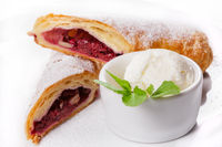 Tasty rolls with sweet berry jam