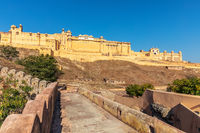 Famous Amber Fort in India, Jaipur, view from the Wall Of Amer