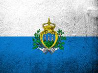 The Republic of San Marino National flag. Grunge background