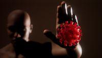 scared man gesturing stop afraid of coronavirus COVID-19 infection