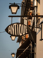 Antique shop sign in Gjirokaster old town, Albania