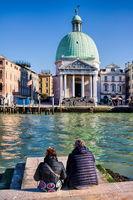 Venice, Italy - 03/20/2019 - San Simeone Piccolo on the Grand Canal