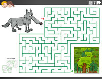 maze educational game with wolf and forest