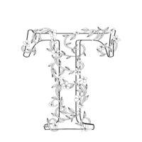 Letter T floral sketch