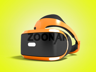 Orange virtual reality glasses for gaming on personal computer 3D render on yellow background with shadow