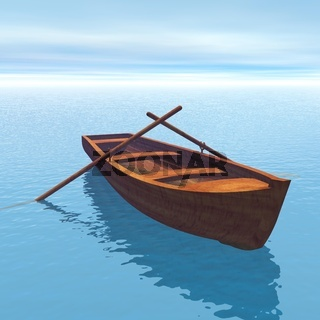Wood boat - 3D render