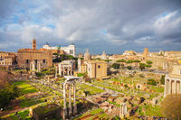 Roman forum ruins on a cloudy day