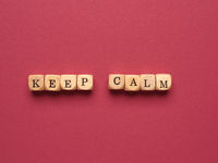 Keep calm written with small wooden blocks