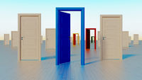 colorful doors to the world of opportunities 3D rendering