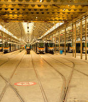 Trams depot, public transport infrastructure