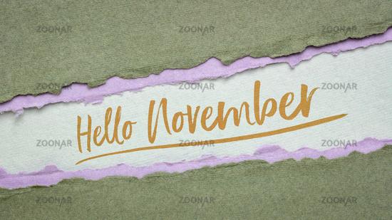 Hello November welcome note