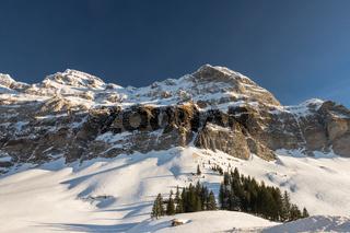 Winterlandschaft mit Blick auf den Alpstein,  Schwägalp, Kanton Appenzell-Ausserrhoden, Schweiz