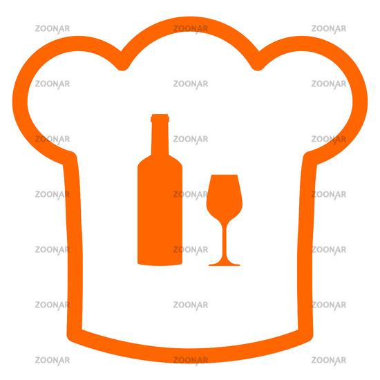 Weinglas und Kochhaube - Wine glass and chef hat