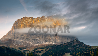 Mountain peaks of Langkofel or Saslonch, mountain range  in the dolomites during sunrise, South Tyrol, Italy