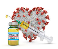 heart next to a syringe and a vaccine