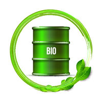 Green barrel of biofuel with word BIO and green leaves isolated on white