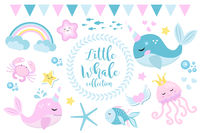 Little whale unicorn set, modern cartoon style. Cute and a fantastic collection for children with sea inhabitants, fish, underwater, jellyfish, crab, rainbow. Vector illustration