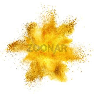 Yellow powder explosion isolated on white