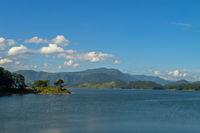 Umiam Lake is a reservoir in the hills, Beautiful Bridge over stream , Meghalaya, India