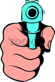 Hand pointing with the gun icon, icon cartoon