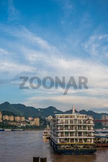 Cruising ship docked in Chongqing town