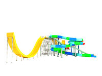 Modern water slides and attractions with five slides on the right 3d render on white background no shadow