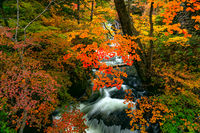Beautiful view of natural stream from Ryuzu Waterfalls flow over rocks
