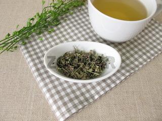 A cup of shepherds purse herbal tea