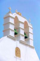 Mykonos church bell tower in Greece, Cyclades
