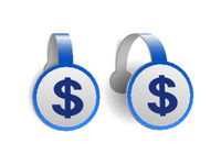 Dollar symbol on Blue advertising wobblers. Illustration design of currency sign of America on banner label.