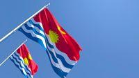 3D rendering of the national flag of Kiribati waving in the wind