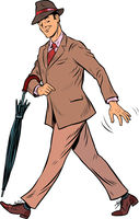 Elegant retro gentleman with an umbrella