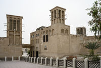 Buildings in the al Fahidi historic district in Dubai, UAE. Clear day 14 March 2020