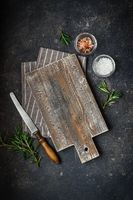 Wooden Cutting Board with Fresh Herbs and spices