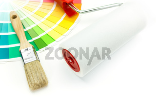 Brush and paint roller over color samles