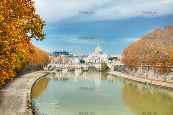 Rome overview with the Papal Basilica of St. Peter in the Vatican city