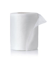 Roll of white disposable fabric napkins
