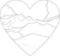 Mountains landscape outline illustration isolated on heart