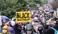 Seattle, WA/USA – June 12: Street View Silent Protesters March for George Floyd 60,000 strong in Seattle to Jefferson Park on June 12, 2020