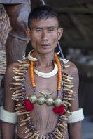NAGALAND, INDIA, January 2000, Naga tribal portrait, man, Hornbill festival