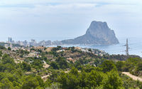 Aerial view Calpe and rocky mountain Penyal d'Ifac Natural Park, Costa Blanca. Spain